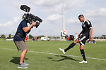 09 January 2015: Otis Earle (UC Riverside) (ENG) (right) juggles for Fox Sports. The 2015 MLS Player Combine was held on the cricket oval at Central Broward Regional Park in Lauderhill, Florida.