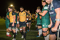 Ealing Trailfinders players receive the applause form the London Irish players after the Greene King IPA Championship match between Ealing Trailfinders and London Irish Rugby Football Club  at Castle Bar, West Ealing, England  on 1 September 2018. Photo by David Horn.
