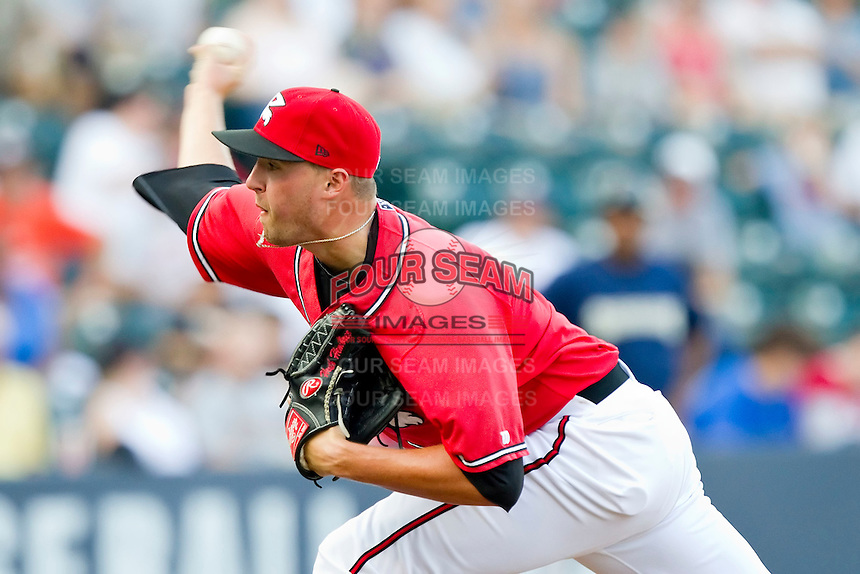 Closer Heath Hembree #35 of the Richmond Flying Squirrels in action against the Harrisburg Senators in game one of a double-header at The Diamond on July 22, 2011 in Richmond, Virginia.  The Squirrels defeated the Senators 3-1.   (Brian Westerholt / Four Seam Images)