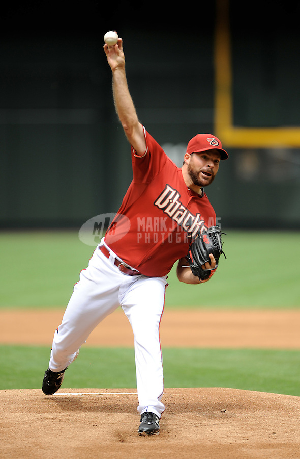 Apr. 8, 2012; Phoenix, AZ, USA; Arizona Diamondbacks pitcher Josh Collmenter throws in the first inning against the San Francisco Giants at Chase Field. Mandatory Credit: Mark J. Rebilas-