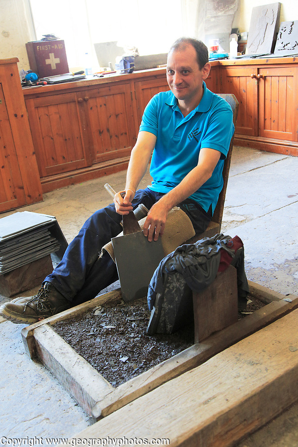 Demonstration of slate working, National slate museum, Llanberis, Gwynedd, Snowdonia, north Wales, UK