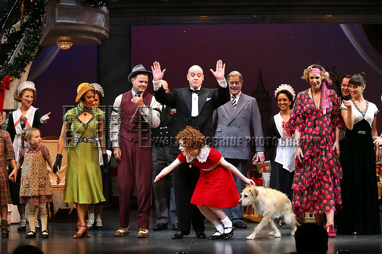 J. Elaine Marcos, Clarke Thorell, Anthony Warlow, Merwin Foard, Lilla Crawford, Jane Lynch, Brynn O'Malley & the cast from Broadway's iconic musical ANNIE celebrate creator Charles Strouse's 85th Birthday at The Palace Theatre in New York City on June 06, 2013.