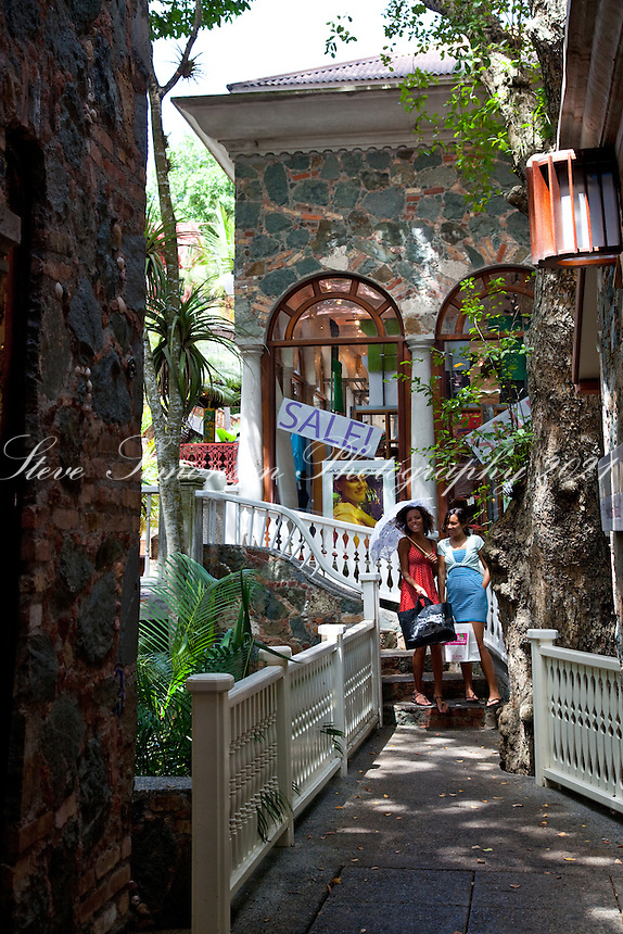 Shoppers at Mongoose Junction.Cruz Bay, St John.U.S. Virgin Islands