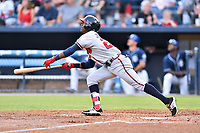 Rome Braves second baseman Kevin Josephina (24) swings at a pitch during a game against the Asheville Tourists at McCormick Field on July 27, 2017 in Asheville, North Carolina. The Braves defeated the Tourists 6-3. (Tony Farlow/Four Seam Images)