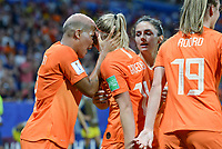 20190703 - LYON , FRANCE : Dutch Jackie Groenen pictured celebrating with Dutch Shanice Van De Sanden (left) after scoring the 1-0 during the female soccer game between Netherlands – Oranje Leeuwinnen - and Sweden  , a knock out game in the semi finals of the FIFA Women's  World Championship in France 2019, Wednesday 3 th July 2019 at the Stade de Lyon  Stadium in Lyon  , France .  PHOTO SPORTPIX.BE | DAVID CATRY