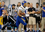 BROOKINGS, SD - APRIL 23:  Isaac Wallace #35 from South Dakota State scampers down the sideline for touchdown during their Spring Game Saturday afternoon at the Sanford Jackrabbit Athletic Complex in Brookings.  (Photo by Dave Eggen/Inertia)