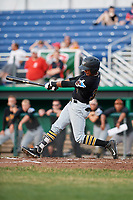 West Virginia Black Bears right fielder Michael De La Cruz (30) follows through on a swing during a game against the Batavia Muckdogs on July 2, 2018 at Dwyer Stadium in Batavia, New York.  West Virginia defeated Batavia 3-1.  (Mike Janes/Four Seam Images)