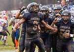 ANSONIA, CT. 02 December 2018-120218 - Ansonia running back Shykeem Harmon #3 celebrates his touchdown with his teammates surrounding him during the Class S Semi-final game between Bloomfield and Ansonia at Ansonia High School in Ansonia on Sunday. Bloomfield held on to beat Ansonia 26-19 and advances to the Class S Championship game next week. Bill Shettle Republican-American