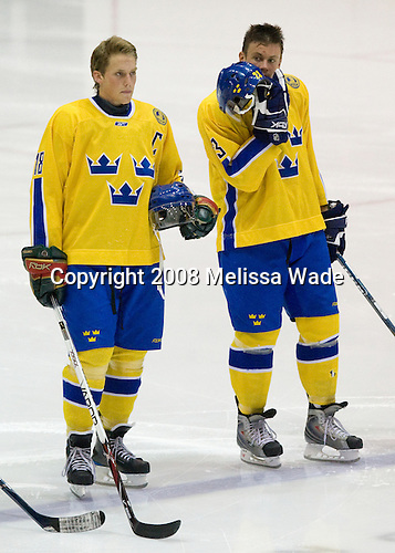 Joakim Andersson (Sweden 18), Markus Persson (Sweden 23) - Team Sweden defeated Team USA White 7-3 on Friday, August 8, 2008, in the 1980 Rink during the 2008 US National Junior Evaluation Camp and Summer Hockey Challenge in Lake Placid, New York.