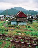 JAPAN, Kyushu, railroad track and the rural town of Arita