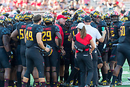 College Park, MD - SEPT 23, 2017: Maryland Terrapins head coach DJ DURKIN fires up his team during a timeout during game between Maryland and UCF at Capital One Field at Maryland Stadium in College Park, MD. (Photo by Phil Peters/Media Images International)