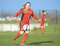20140209 - TUBIZE , BELGIUM : Belgian Lucinda Michez pictured during a friendly soccer match between the Under 19 ( U19) women teams of Belgium and The Netherlands , Sunday 9 February 2014 in Tubize . PHOTO DAVID CATRY