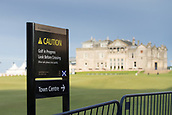 2nd October 2017, The Old Course, St Andrews, Scotland; Alfred Dunhill Links Championship golf practice round; Caution golf in progress signage on 18th hole of the Old Course, St Andrews,