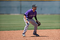 Colorado Rockies shortstop LJ Hatch (38) during an Extended Spring Training game against the Chicago Cubs at Sloan Park on April 17, 2018 in Mesa, Arizona. (Zachary Lucy/Four Seam Images)