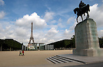 Military memorial dedicated to the First world war and the Eiffel tower, Paris, France.