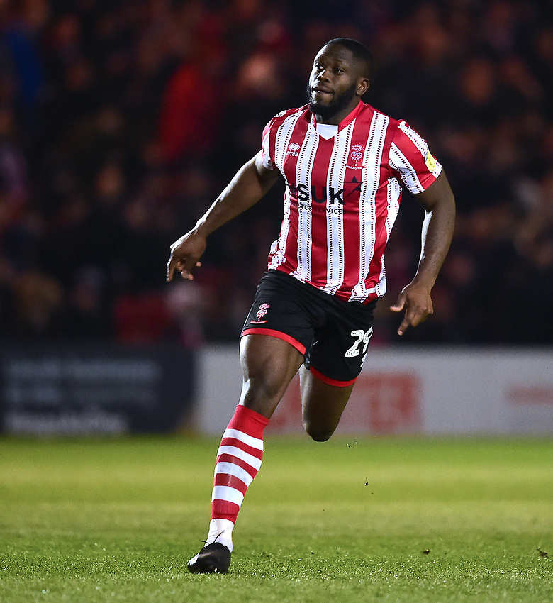 Lincoln City's John Akinde<br /> <br /> Photographer Andrew Vaughan/CameraSport<br /> <br /> The EFL Sky Bet League Two - Lincoln City v Yeovil Town - Friday 8th March 2019 - Sincil Bank - Lincoln<br /> <br /> World Copyright © 2019 CameraSport. All rights reserved. 43 Linden Ave. Countesthorpe. Leicester. England. LE8 5PG - Tel: +44 (0) 116 277 4147 - admin@camerasport.com - www.camerasport.com