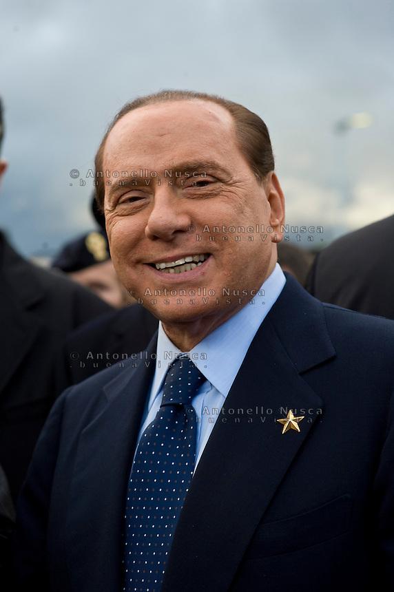 Roma, 4 Novembre, 2009. Silvio Berlusconi all'Aquila incontra le famiglie di terremotati che vivono nelle nuove strutture antisismiche
