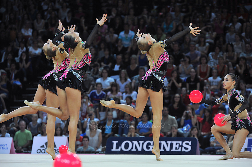 September 24, 2011; Montpellier, France;  Italian group performs with 5-balls on way to winning gold in the groups all around final at 2011 World Championships. (Center & right) ANZHELIKA SAVRAYUK, ROMINA LAURITO.