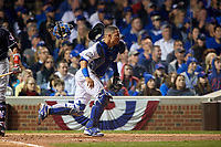 Chicago Cubs catcher Willson Contreras (40) makes a play in the seventh inning during Game 3 of the Major League Baseball World Series against the Cleveland Indians on October 28, 2016 at Wrigley Field in Chicago, Illinois.  (Mike Janes/Four Seam Images)