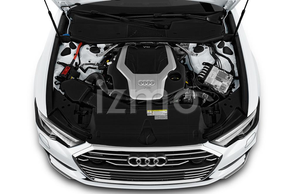 Car Stock 2019 Audi A6 S-Line 4 Door Sedan Engine  high angle detail view