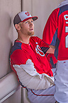 11 March 2013: Washington Nationals pitcher Stephen Strasburg sits iced in the dugout during a Spring Training game against the Atlanta Braves at Space Coast Stadium in Viera, Florida. The Braves defeated the Nationals 7-2 in Grapefruit League play. Mandatory Credit: Ed Wolfstein Photo *** RAW (NEF) Image File Available ***