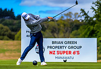 Nick Voke tees off at the 6th. Day two of the Jennian Homes Charles Tour / Brian Green Property Group New Zealand Super 6s at Manawatu Golf Club in Palmerston North, New Zealand on Friday, 6 March 2020. Photo: Dave Lintott / lintottphoto.co.nz