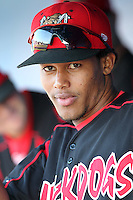 Batavia Muckdogs infielder Yunier Castillo (7) during a game vs the Williamsport Crosscutters at Dwyer Stadium in Batavia, New York July 25, 2010.   Batavia defeated Williamsport 8-1.  Photo By Mike Janes/Four Seam Images