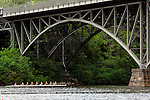 A eight man crew rows up the river prior to competing during the 68th Dad Vail Regatta on the Schuylkill River in Philadelphia, Pennsylvania on May 12, 2006........