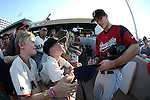 Sacramento River Cats&rsquo; Kelby Tomlinson signs autographs before a game against the Reno Aces at Greater Nevada Field in Reno, Nev., on Tuesday, July 26, 2016.  <br />Photo by Cathleen Allison