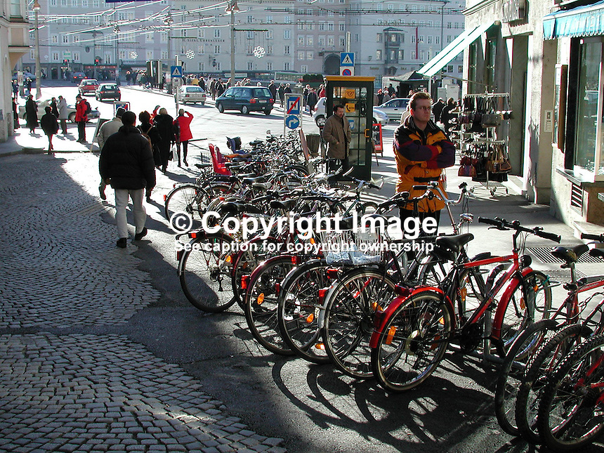 Cyclists will feel at home in Salzburg, Austria, as the bicycle is an important method of transport. Ref: 2000121257..Copyright Image from Victor Patterson, 54 Dorchester Park, Belfast, UK, BT9 6RJ..Tel: +44 28 9066 1296.Mob: +44 7802 353836.Voicemail +44 20 8816 7153.Skype: victorpattersonbelfast.Email: victorpatterson@mac.com.Email: victorpatterson@ireland.com (back-up)..IMPORTANT: If you wish to use this image or any other of my images please go to www.victorpatterson.com and click on the Terms & Conditions. Then contact me by email or phone with the reference number(s) of the image(s) concerned.