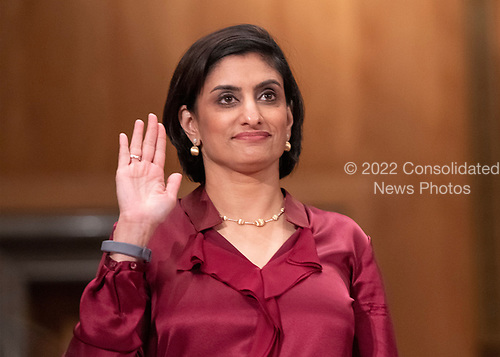 """Seema Verma, Administrator, Centers for Medicare & Medicaid Services, US Department of Health and Human Services is sworn-in prior to their giving testimony before the United States Senate Committee on Homeland Security & Governmental Affairs during a hearing entitled """"Examining CMS's Efforts to Fight Medicaid Fraud and Overpayments"""" on Capitol Hill in Washington, DC on Tuesday, August 21, 2018.<br /> Credit: Ron Sachs / CNP"""