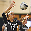 Ashley Chieca #22 of Lindenhurst serves a ball into play during a Suffolk County varsity girls volleyball match against Sachem North at Lindenhurst High School on Wednesday, Oct. 5, 2016. Lindenhurst won the match 3-0.