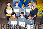 CBS students collect their achievement award at their awards evening in Rose Hotel on Thursday night for their project presentation in the Donal Walsh Live Life Film competition. <br /> Kneeling l to r: Byron Mulvihill, Sean Hanifin and Albert Kastrali.<br /> Back l to r: Cian Lynch, Dionit Baftijari, Jet Panagsagan, Neil Stuart and Jennifer Stack (Teacher).