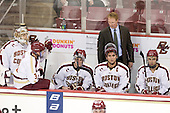 Brian Billett (BC - 1), Patch Alber (BC - 3), Patrick Wey (BC - 6), Greg Brown (BC - Assistant Coach), Tommy Cross (BC - 4), Isaac MacLeod (BC - 7) - The visiting University of Denver Pioneers defeated the Boston College Eagles 4-2 (EN) on Friday, October 14, 2011, at Kelley Rink at Conte Forum in Chestnut Hill, Massachusetts.