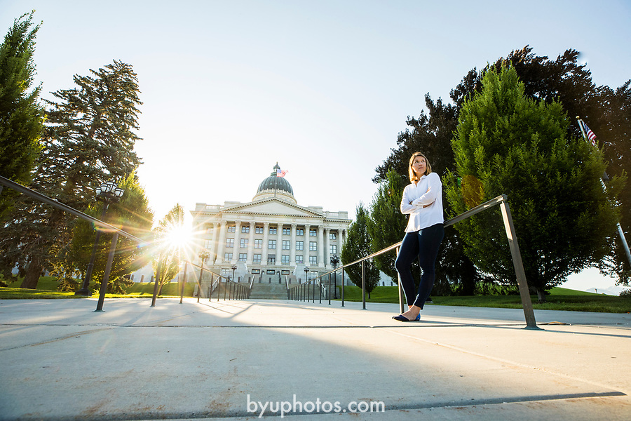1707-04 0038<br /> <br /> 1707-04 Kelly Petersen at State Capitol<br /> <br /> Graduate from the MPA Program<br /> <br /> July 5, 2017<br /> <br /> Photography by Nate Edwards/BYU<br /> <br /> &copy; BYU PHOTO 2017<br /> All Rights Reserved<br /> photo@byu.edu  (801)422-7322