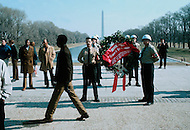February 12, 1972. In front of the Lincoln Memorial in Washington, DC. The White National Socialist Party celebrating each year the Anniversary of Abraham Lincoln. The Comander Matt Koehl and a trooper, carrying flowers to be deposited at the feet of Lincoln's statue.