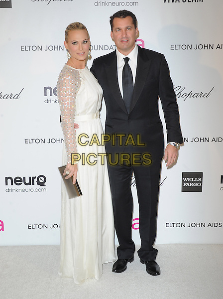 Molly Sims & Scott Stuber.The 21st Annual Elton John AIDS Foundation Academy Awards Viewing Party held at The City of West Hollywood Park in West Hollywood, California, USA..February 24th, 2013.oscars full length white dress black suit sheer side sequins sequined .CAP/DVS.©DVS/Capital Pictures.