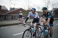 Zdenek Stybar (CZE/Etixx-QuickStep) &amp; Bernie Eisel (AUT/SKY) chatting as they ride out to the actual race start<br /> <br /> 103rd Scheldeprijs 2015