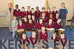 WORKSHOP: The 1st class students taking part in African Drum workshop held by Niall Delahan of Wassa Wassa Workshops at Holy Family NS, Tralee on Friday.