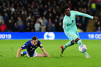 Gavin Whyte of Cardiff City vies for possession with Eberechi Eze of Queens Park Rangers during the Sky Bet Championship match between Cardiff City and Queens Park Rangers at the Cardiff City Stadium in Cardiff, Wales, UK. Wednesday 02 October, 2019
