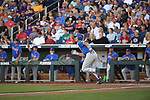 OMAHA, NE - JUNE 26: Jonathan India (6) of the University of Florida watches the ball after hitting a double against Louisiana State University during the Division I Men's Baseball Championship held at TD Ameritrade Park on June 26, 2017 in Omaha, Nebraska. The University of Florida defeated Louisiana State University 4-3 in game one of the best of three series. (Photo by Justin Tafoya/NCAA Photos via Getty Images)
