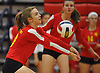 Helena Gunther #10 of Sacred Heart Academy makes a dig during the first set of a CHSAA varsity girls volleyball match against host St. John the Baptist High School in West Islip on Thursday, Oct. 12, 2017.
