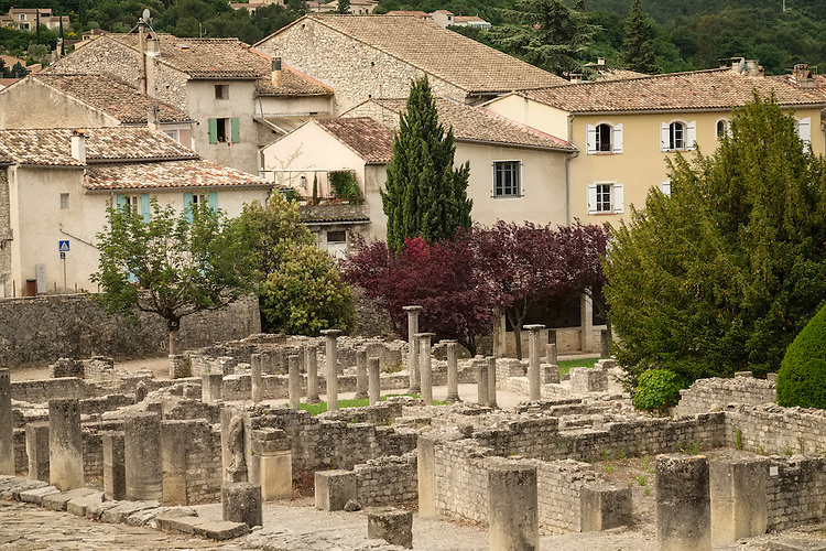 The Roman Ruins of La Villasse is surrounded by the medieval town of Vaison la Romaine in Provence.