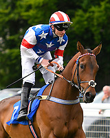 Parable ridden by William Carson goes down to the start of The Molson Coors Handicap (Class 6) during Afternoon Racing at Salisbury Racecourse on 12th June 2018