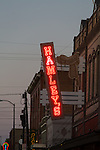 The famous neon sign at Hamleys, a leather goods and Western wear shop, Cafe and Restaurant in downtown Pendleton, Oregon