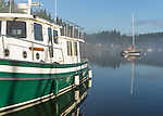 Vashon Island, WA: Boats and calm waters of Quartermaster Harbor with clearing morning fog