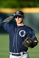 Third baseman Chris Hess (2) of the Charleston RiverDogs warms up before a game against the Greenville Drive on Friday, April 27, 2018, at Fluor Field at the West End in Greenville, South Carolina. Greenville won, 5-4. (Tom Priddy/Four Seam Images)