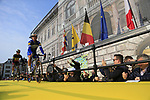 Philippe Gilbert and Belgian National Champion Yves Lampaert (BEL) Deceuninck-Quick Step arrive on stage at the team presentation in Antwerp before the start of the 2019 Ronde Van Vlaanderen 270km from Antwerp to Oudenaarde, Belgium. 7th April 2019.<br /> Picture: Eoin Clarke | Cyclefile<br /> <br /> All photos usage must carry mandatory copyright credit (&copy; Cyclefile | Eoin Clarke)