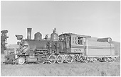 3/4 fireman's-side view of D&amp;RGW #268 at Gunnison.<br /> D&amp;RGW  Gunnison, CO
