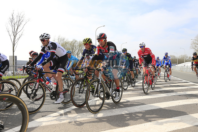 The peloton including Greg Van Avermaet (BEL) BMC Racing Team pass through Mater during the 60th edition of the Record Bank E3 Harelbeke 2017, Flanders, Belgium. 24th March 2017.<br /> Picture: Eoin Clarke | Cyclefile<br /> <br /> <br /> All photos usage must carry mandatory copyright credit (&copy; Cyclefile | Eoin Clarke)